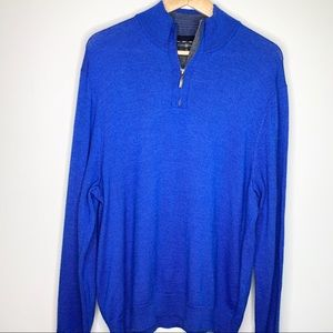 CLUB ROOM 1/4 Zip Blue Merino Wool Sweater XL